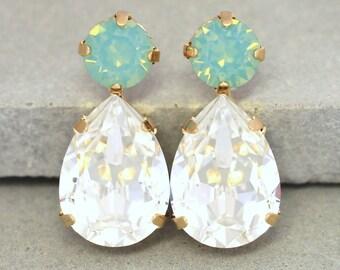 Mint White Crystal Earrings,Sea foam Crystal Earrings,Swarovski Teardrop Stud Earrings,Bridesmaids Stud Earrings,Crystal Green Mint Studs