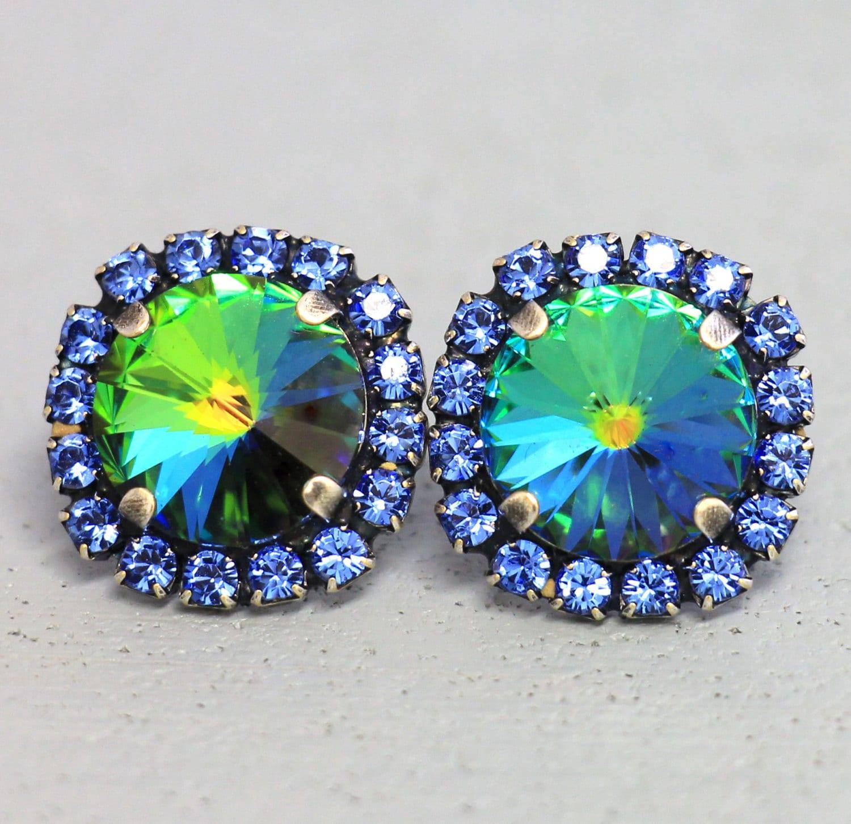 blue sapphire studspeacock stud earrings rainbow blue peacock. Black Bedroom Furniture Sets. Home Design Ideas