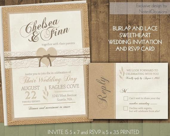 Rustic Wedding Invitation Sets: Rustic Wedding Invitations Set Rustic Burlap And By