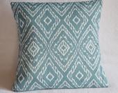 30% OFF!! Ikat Graphic Pattern Pillow Cover 16x16 Aqua, Denim, Cerulean, Slate, Steel Blue, Turquoise, Teal