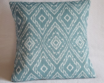 Ikat Graphic Pattern Pillow Cover 16x16 Aqua, Denim, Cerulean, Slate, Steel Blue, Turquoise, Teal