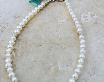 Pearl and Shaded Apatite Bracelet / Freshwater Pearl / Aqua Apatite / Sterling Silver / Statement Jewelry