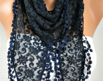 Dark Blue Lace Scarf,wedding Shawl,bridal Scarf Women Scarves Cowl Scarf Bridesmaid Gift Gift Ideas For Her Women Fashion Accessories