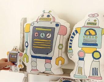 Cotton Linen Fabric Cloth -DIY Cloth Art Manual Cloth-Robot A 57x19Inches