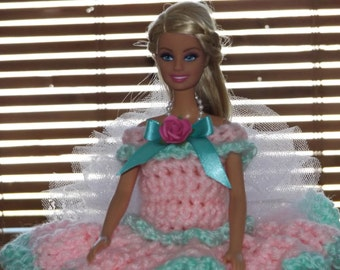 BARBIE DOLL/toilet paper doll/pink with green trim
