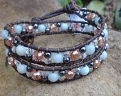 Stacked beaded Leather Wrap Bracelet- Ready to ship today!