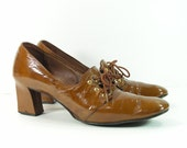 halloween witch shoes womens 8.5 AAA shoes brown witch steampunk retro heels patent leather vintage