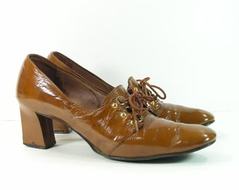 victorian shoes womens 8.5 AAA vintage brown witch steampunk retro heels patent leather vintage