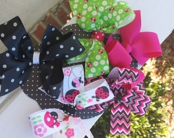 Hair bow set-ladybug love