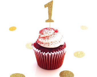 12 Gold Glitter 1 One First Birthday Cupcake Toppers