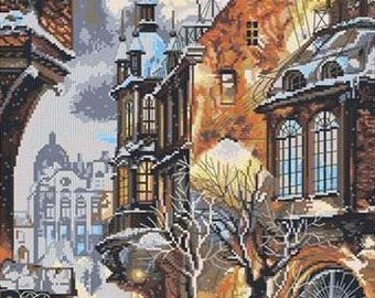 "NEW Unopened Counted Cross Stitch Kit Nova Sloboda  PE 3314 ""Snow in the city"""