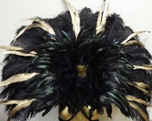 "Runway Model Black/Gold Runway Model  Feather Collar Exotic Brazilian Showgirl 39X36""  Samba Dance Costume"