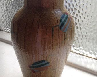 Retro italian ceramic vase with unusual bug decoration