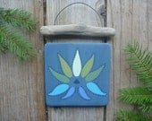Blue Lotus Flower - Yoga Wall Hanging - Hand Painted Wall Hanging - Driftwood - Yoga Art  - Recycled Wood Wall Art