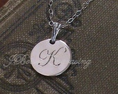 Letter K - Hand Engraved Sterling Silver Personalized Initial Pendant on 18 inch Sterling Chain