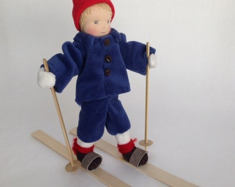 Small Elsa Beskow Inspired Skiing Waldorf Doll