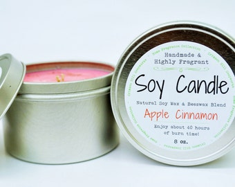 Apple Cinnamon SOY CANDLE TIN 8 oz - Beeswax, natural, fragrance, home, fragrance, scented candle, house, gift