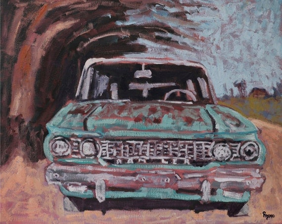 Man Cave Car Art : Turquoise rambler painting original oil art man cave