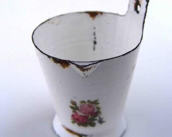 White enamel milk pail