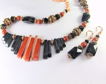 Statement Necklace and Earring Set Red Jasper, Blackstone Semiprecious Stone with Bali Copper Cleopatra Style