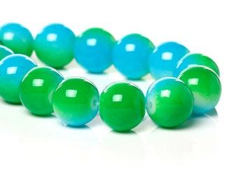 20 Glass Beads Green & Blue - 10mm  - BD779