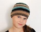 Striped Hand Knit  Hat - Beanie Blue Black Brown Beige