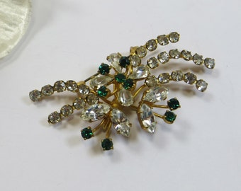 Vintage Rhinestone Pin Brooch, Emerald Green & Clear Rhinestone Crystal Spray Brooch Pin, 1940s Brooch Pin, Old Emerald Clear Rhinestone Pin