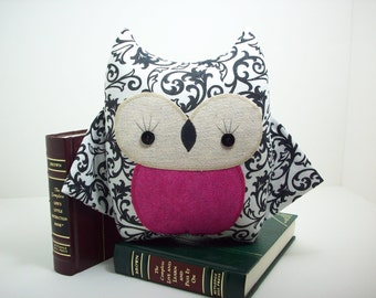 Owl pillow in black and white with pink , owl plush toy, owl nursery decor, black and white girl owl, owl stuffed toy