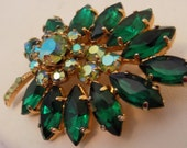Vintage brooch, emerald green marquise and AB crystals floral brooch, D & E Juliana look brooch