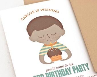 Boy Birthday Party Invitation, Custom Portrait Invite, Cupcake // BIRTHDAY WISH
