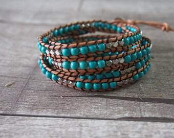 SHOP SALE 5 Wrap Turquoise Bracelet Leather Bracelet Wrap Bracelet Truquoise Beaded Strand 10410