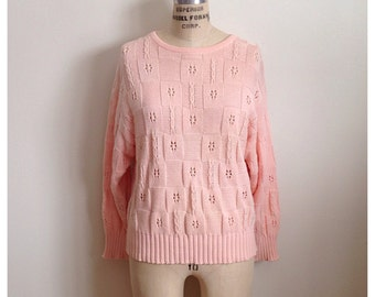 Vintage pink checkered cable knit sweater