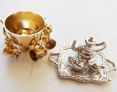 Miniature Dollhouse Brass Punch Bowl & Silver Coffee Service ON SALE
