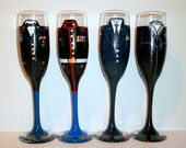 Single Hand Painted Military Uniform or Wedding Dress Champagne Flute One- 6 oz Toasting Flute Marine Army Navy Airforce Military Uniform
