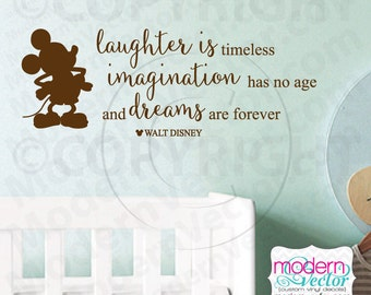 Disney Laughter Imagination Dreams Quote Vinyl Wall Decal Lettering Nursery Mickey Mouse