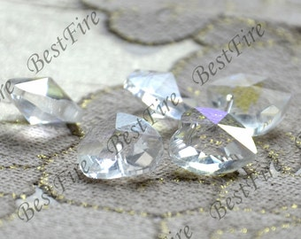 6 beads  Faceted A heart Glass Crystal Beads clear Color, clear heart Crystal Glass  loose beads