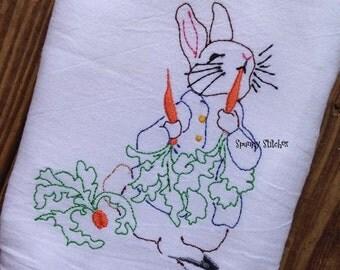 Peter Rabbit Heirloom vintage redwork embroidery machine design