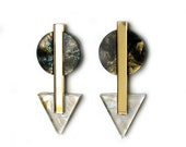 GABLE Statement Earrings in Tiger's Eye and Pearl Marble - Marble Earrings, Arrow Earrings, Modern Earrings, Triangle Earrings