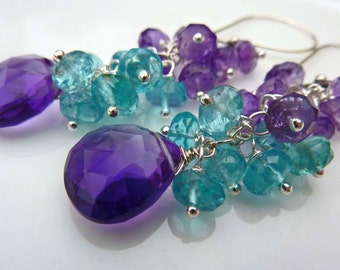 Apatite and Amethyst Cluster Drop Earrings. Wire wrapped chandelier.