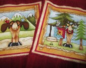 MOOSE and DEER DiSH TOWEL Set on Burgundy Terry Cloth Cotton Towels
