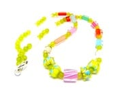 David Christensen Colorful Candy Cane Furnace Glass & Yellow Topaz Gemstone Beaded Necklace