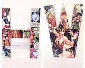 Pick 2--Small Comic Book Letter, Pop Art, Custom Made 6 Inch