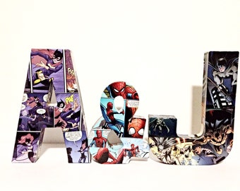 Decoupage Comic Letters and Ampersand, Custom Comic Intials, Pick 2 Letters and Ampersand
