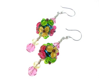 Lampwork Earrings, Dangle Earrings, Glass Bead Earrings, Yellow Pink Green Flower Earrings, Lampwork Jewelry, Statement Beaded Earrings