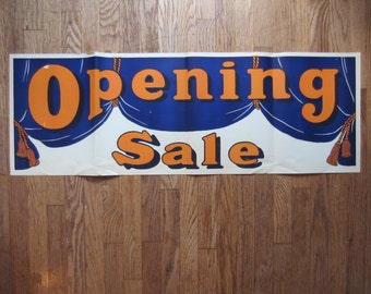 "Vintage Silkscreen Opening Sale Poster - Open Banner - Open Sign - Garrison Wagner Co St. Louis - Orange & Blue 42"" x 14 1/2"" Qty Avail"