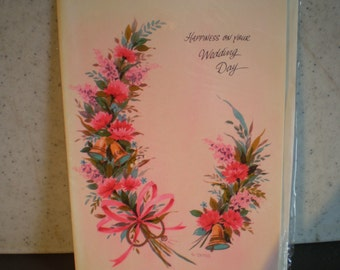 Vintage Unused Mid Century Greeting Card - Happiness On Your Wedding Day