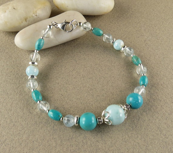 Self Forgiveness & Respect Bracelet with Turquoise, Aquamarine and Larimar