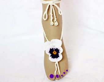 Pansy Barefoot Sandals, Wedding party shoes-Bridal Foot jewelry-Wedding Accessory-Bridal shoes-footless sandals