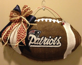 Patriots Burlap Football Door Hanger Super Bowl Decoration
