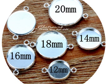 12mm.14mm.16mm.18mm. 20mm Antique Bronze/Silver Plated Brass Cabochon  Base frame Base Connectors Setting (SETHY)